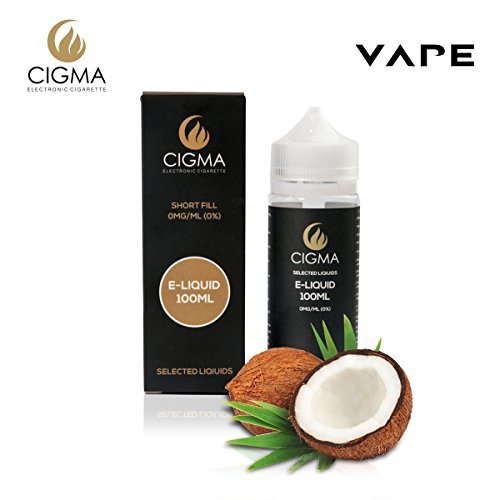 CIGMA Coconut 100ml E Liquid 0mg | New Short fill bottles | Premium Quality Formula with Only High Grade Ingredients | Made For Electronic Cigarette and E Shisha | Eliquid