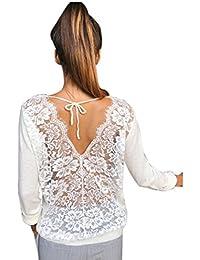 URSING Damen Blusen mit Spitze Rückenfrei O-Ausschnitt Spitze Lange Ärmel  Sweatshirt Spitzenbluse Bluseshirt Hemdblusen Elegant Bluse… 4c0ab2247c