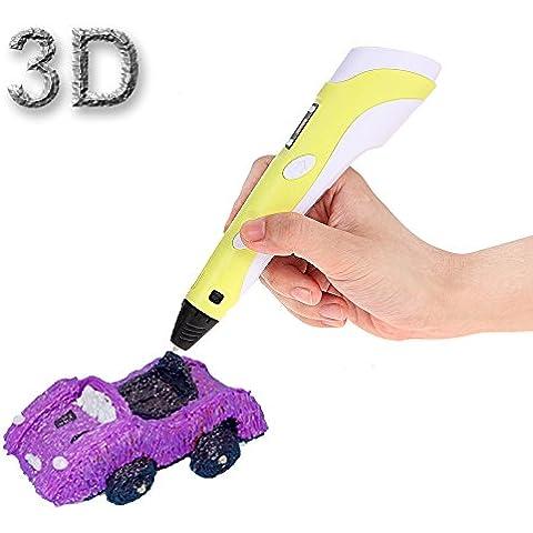 Foxpic Inteligente 3D Pen Bolígrafo Pluma de Impresión Estereoscópica en 3D con Soporte de Seguridad - Pluma para Crear y Modelar Figuras 3D Con 3 Filamentos Gratuito de ABS Regalo Niños (Versión II Amarillo)