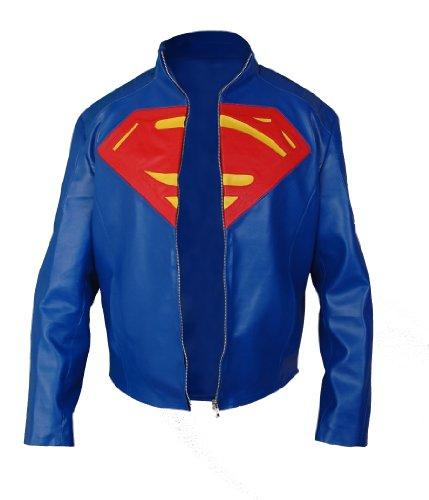 Smallville Giacca Di Pelle Finta Superman - In Colore Blu - Xxs