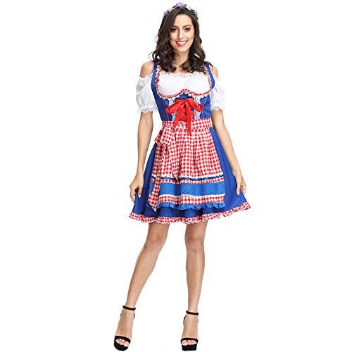 Kostüm Naughty Weibliche - ZC Dawn Dienstmädchen Kostüme, Bier Dienstmädchen Kostüm, Halloween Kostüme Frauen, Frauen Sexy Naughty Maid Kostüm Uniform Für Halloween Cosplay Party Jumpsuit Kostüm,Blau,XL