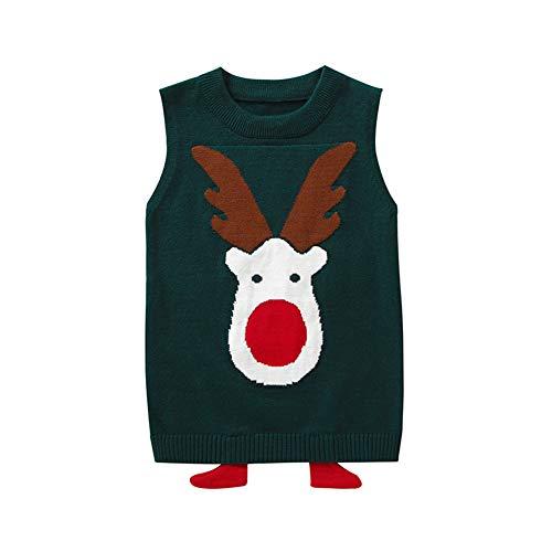 Gyratedream Baby Ärmellose Weste Jungen Mädchen Gilets Ugly Christmas Sweater Pullover Knit Vest Tops Alter 2-9 Jahre Klassische Weihnachten Hirsch Muster