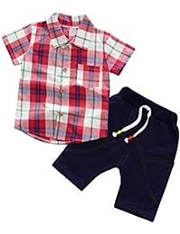 0378a97ab3 Gyratedream Niños Ropa Set Verano 1-6 Años Manga Corta Camisa Cuadros Blusa  + Pantalones