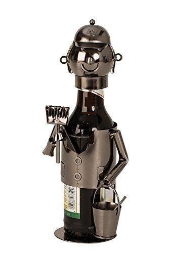 Unbekannt Moderner Bier Flaschenhalter Flaschenständer Maler aus Metall in Silber Höhe 23 cm -