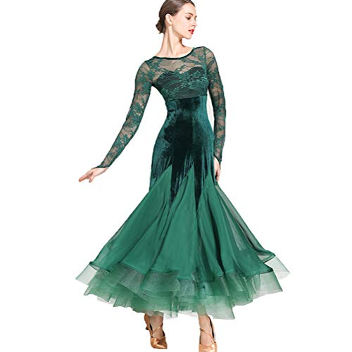 Kostüm Nähen Latin Muster Dance - Wangmei Nationale Standard Tanzkleider für Frauen Wettbewerb Performance Kostüm Samt Spitze Nähen Ballsaal Moderner Tango Soziales Kleid Tüllrock,Green,L