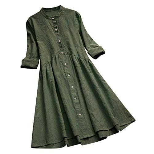 kolila Plus Size Leinen Kleid Tunika Damen Retro Literarische Stil Einfarbig Plissee Langarm Bluse Shirt Kleider
