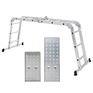 SONGMICS Multi-Purpose Aluminium Ladder with 2 Iron Plates, Holds up to 150 kg, EN 131 Standard and TÜV Rheinland GS Certified, Silver GLT36M