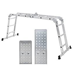 Songmics Multi-purpose Aluminium ladder Holds up to 150 kg Includes 2 Iron Plates EN 131 Standard TÜV Rheinland GS certified GLT36M
