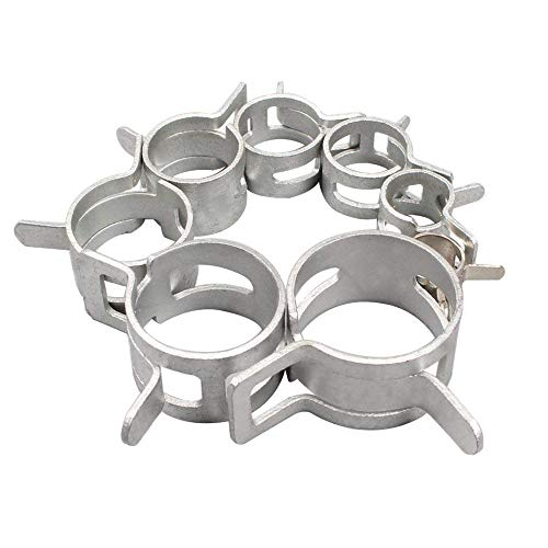 6mm 8mm 10mm 12mm 14mm 16mm 18mm 20mm Hose Clamp EAHOME【40 Piece 8 Size】Adjustable Stainless Steel Hose Clip Drive Pipes Silver/Connection Fittings for Home Gas Pipe Car Tractor Locomotive Ship - Gas Pipe