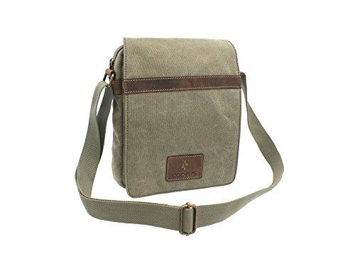 CACTUS tela e Distressed Leather Messenger Bag oliato CM815_81 Viola Cachi