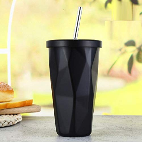 Double Wall 480ML Insulated Travel Stainless Steel Flask Diamond Tumbler Flask with Steel Straw and Lid Hot and Cold Thermos Sipper, Coffee Tea Mug - Black