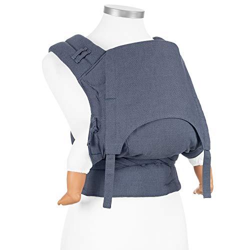Fidella FlowClick Babytrage I Bauchtrage & Rückentrage I Ergonomisch und mitwachsend für Neugeborene/Babies bis 15 kg I 100% Baumwolle I Chevron/Denimblau -