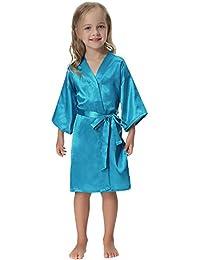 Aibrou Mädchen Morgenmantel Kimono Satin Bademantel Nachtwäsche Kurz Robe für Sleepwear/Party/Hochzeit