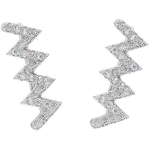 EleQueen 925 Sterling Silver Cubic Zirconia Ear Lightning Bolt Zig Zag di vite Crawlers Sweep polsino dell'involucro orecchini del gancio 1 coppia - Cristallo Sweep Goccia