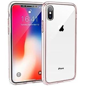 Syncwire Coque iPhone X - UltraRock Series Housse Rigide de Protection avec Protection Anti-Chute et Technologie Avancée de Coussin d'air pour iPhone X/10 (2017) - Transparent, Bord Rose Gold