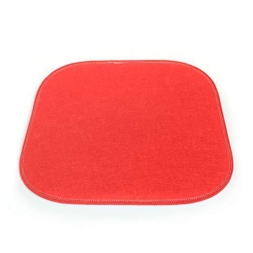 Luckysign® - 2 cuscini per sedia in feltro, stile moderno, antiscivolo, 34 x 37 cm, per panca e sedia, colore: rosso