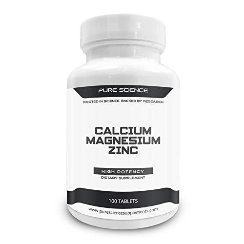 Pure Science Calcium 1000 mg Magnesium 400 mg Zink 25 mg - 1425 mg mit 5 mg BioPerine (natürlicher Bioverfügbarkeitsverstärker für eine bessere Absorption) - 100 Tabletten -