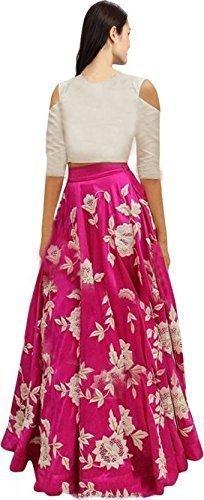 c9608bfda Shree Impex Women s Embroidered Taffeta Silk Semi stitched Lehenga choli  with Dupatta (Freesize Maroon)