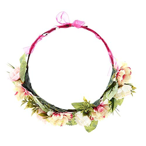 en Boho Candy Bunte Imitation Rose Blume Haarband Hochzeit Girlande Kranz Band Bowknot Unadjustable Crown Stirnband ()
