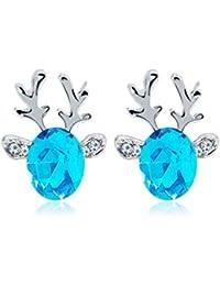 Mymotto Xmas Reindeer Stud Earrings Women Fashion Alloy Inlay Artificial Gem Earring Earrings
