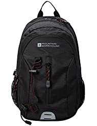 Mountain Warehouse Merlin 12L Rucksack - Airmesh Back Daypack, Pockets, High Vis, MP3 Compatible, Breathable Backpack - For Cycling, Travelling, Hiking, Camping Charcoal