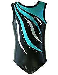 NewDance Girls Gymnastics Leotard One Piece Metallic Stripe Workout Stretchy Dance Bodysuit NT15018