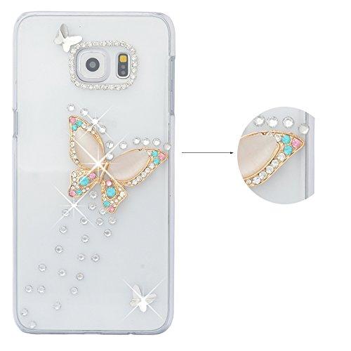 Spritech (TM 3D Handgefertigt Clear Case glänzend Sparkle Strass Butterfly Decor Hard Caver Fall, Style-6, Samsung Galaxy Note 4 (Fälle Touch Ipod 4 Strass)