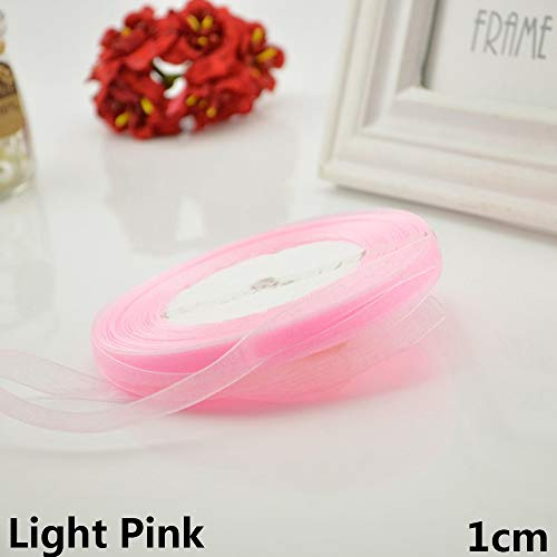 10/20mm 45M Fashion Home Decor DIY Crafts Packing Belt Satin Ribbon Fabric Silk Rope Gift Wrapping Wedding Decoration(1cm+Light pink) 50 Yard Organza Satin
