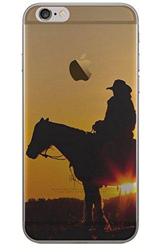 Vandot 1X 0.5MM 3D HD Exklusive Ultra Thin Leicht TPU Silikon Translucent Hülle Matt Für iPhone 6 6S 4.7 Zoll Muster Pattern Protektiv Case Skin Back Cover Tasche Anti Finger Kratzfeste Premium Shell Slim Etui Schale Bumper - Druck Landschaft 3D Tier Pferde Cowboy (Cowboy Kfz-zubehör)