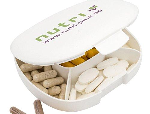 Kapseldose Pillendose Pillenbox Tablettendose Tablettenbox 5 Fächer (11 x 10 x 3) cm - BPA-frei - Nutri-Plus
