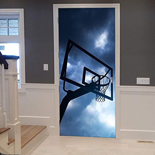 Tür Wandaufkleber Basketball stehen 3D Wallpaper für Schlafzimmer Wohnkultur Poster PVC Wasserdichte Nachahmung Abziehbilder 77x200 cm