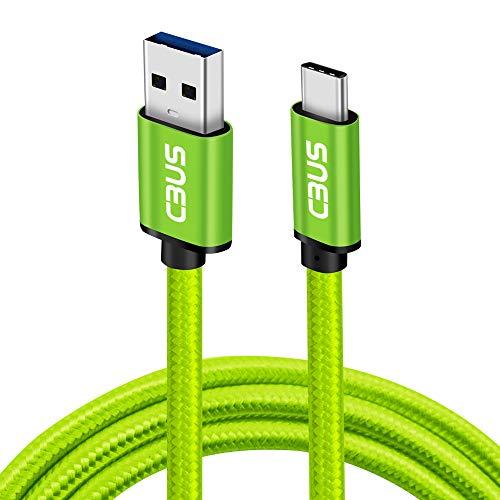 Grüne Computer-kurze (CBUS 25cm kurzes 3A USB-C Kabel, Strapazierfähiges geflochtenes USB-C 3.2 auf USB-A 3.0 Schnellladekabel für Galaxy M20, A20e/A50/A40/A70, Xiaomi Mi A2, Moto G7 Power/Play/Plus, LG G7/G8S (Grün))