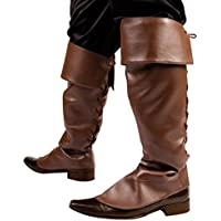 Brown Medieval Pirate Jack Sparrow Fancy Dress Costume Boot Covers Leather Look