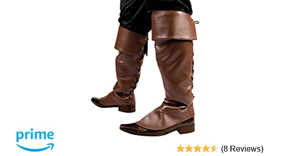 1805b799 Brown Medieval Pirate Jack Sparrow Fancy Dress Costume Boot Covers Leather  Look