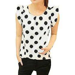 FAMILIZO_Camisetas Mujer Verano Blusa Mujer Elegante Camisetas Mujer Manga Corta Lunares Camiseta Mujer Camisetas Mujer Fiesta Camisetas Sin Hombros Mujer Camisetas Mujer Tallas Grandes (L, Blanco)