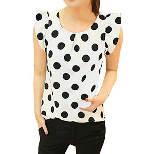 FAMILIZO_Camisetas Mujer Verano Blusa Mujer Elegante Camisetas Mujer Manga Corta Lunares Camiseta Mujer Camisetas Mujer Fiesta Camisetas Sin Hombros Mujer Camisetas Mujer Tallas Grandes (M, Blanco)