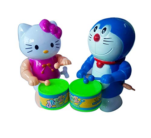 Foreign Holics Cartoon Character Drum Playing with Real Dancing Toy for Kids 6 inches 2 Pcs (Multicolor) (Model 2)