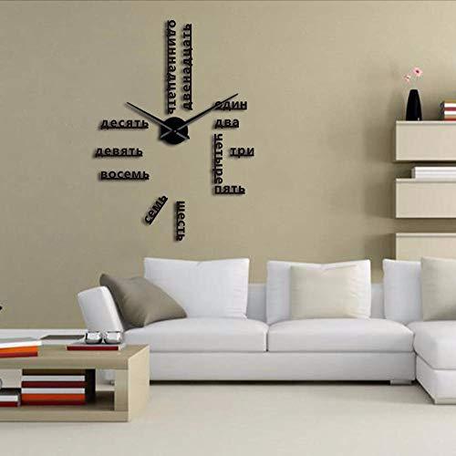 ganjue Langue Étrangère Bricolage Géant Horloge Murale Grand Chiffres Russes Soviétiques Grande Horloge Montre Chambre De Bébé Décoration Préscolaire Montre Russe 37Inch Noir