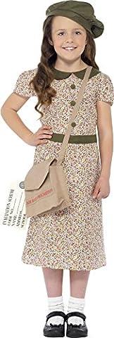 Smiffy's Children's Evacuee Girl Costume, Dress, Satchel, ID Tag & Beret, Size: M, Colour: Pattern,