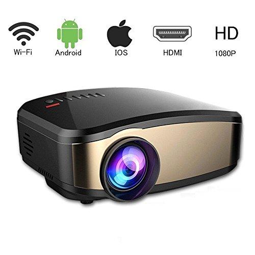 Video Beamer, VPRAWLS Wifi Full HD Video Projektor Wireless Mini Movie Projektor Portable mit HDMI USB Kopfhörer Jack TV Gut für Heimkino Spiel Film XBOX ONE 120 '' Max Dispaly (Hd-projektor 1080p Wireless)