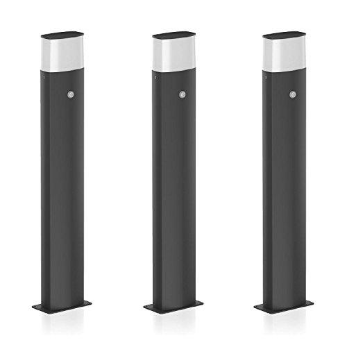 parlat LED Standleuchte Vela mit Dämmerungssensor, wetterfest, 90cm, schwarz, warm-weiß, 3 Stk.