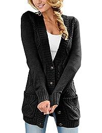 Dokotoo Femme Cardigan Manches Longues Veste Ouvert Poches Épais Tricot Gilets Long en Maille Outwear Torsadé Chaud Haut Bouton