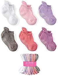 LA Active Baby Toddler Grip Ankle Socks - 6 Pairs - Non Slip/Skid Covered