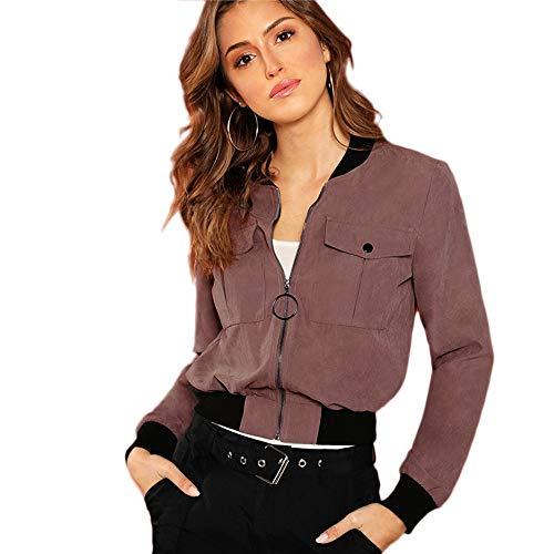 WLXFVNYBD Reißverschlusstasche Bomberjacke Stehkragen Streetwear Cool Girl Crop Top Herbst Frauen Mantel und Jacken, Xs (Kids Leder-jacke Für)