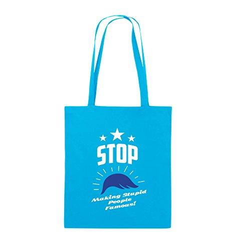 Comedy Bags - Stop making stupid people famous - Jutebeutel - lange Henkel - 38x42cm - Farbe: Schwarz / Weiss-Neongrün Hellblau / Weiss-Royalblau