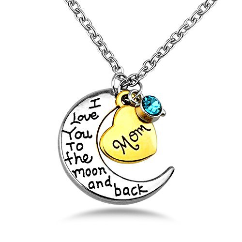 YOUFENG Mom I Love You to the Moon and Back Pendants Necklace,Love My Mom Necklaces Best Gifts for Mothers Day