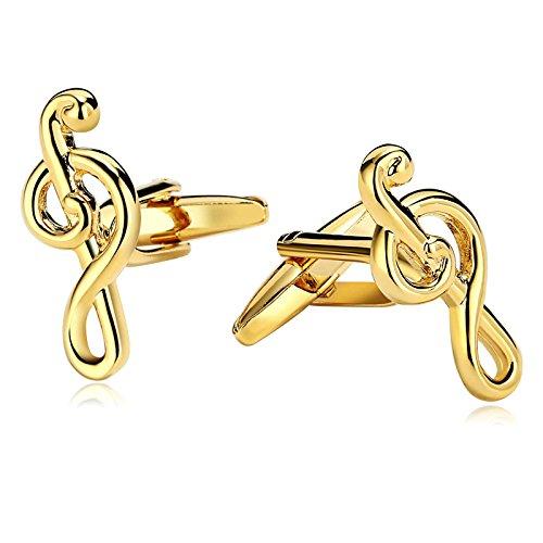 Beglie Manschettenknöpfe Aus Edelstahl Notenschlüssel Gold 1.1×2.5 cm Elegante Cufflinks Herren Schmuck