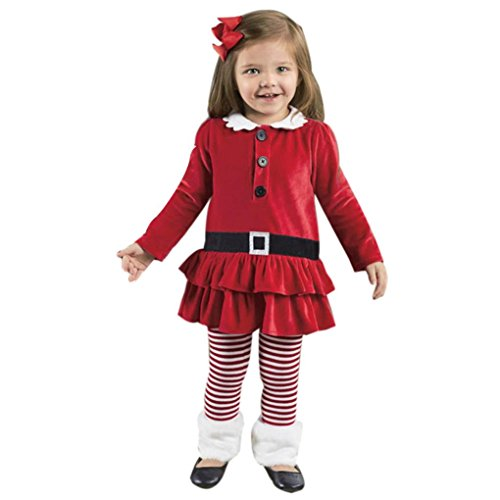 HKFV Kleinkind Kinder Baby Mädchen Gestreifte Prinzessin Kleid Tops Hosen Weihnachten Outfits Set (Outfits Weihnachten Kleinkind)