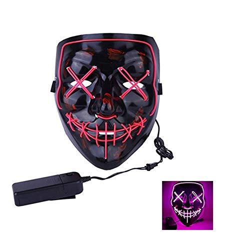 Wilk LED Máscaras Craneo Esqueleto Mascaras Navidad Halloween Cosplay Grimace Festival Party Violeta
