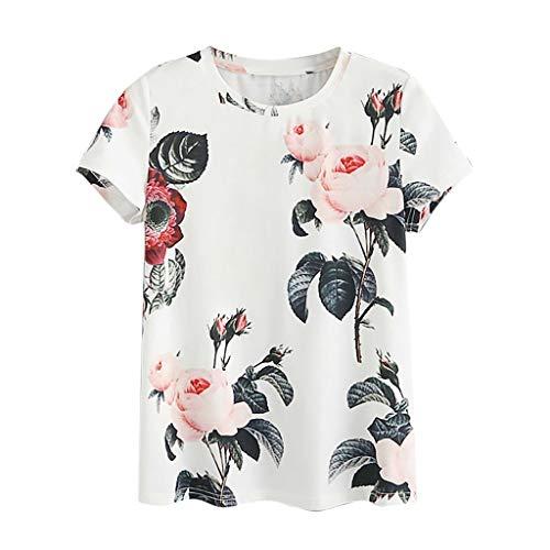 Lazzboy donna t-shirt a maniche corte t-shirt a maniche corte con stampa floreale t-shirt taglia 40-46 slouch(s(40),bianca)